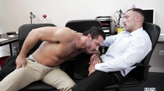 Wild hunks sucking in the office