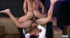 Lustful guys plowing on the sofa